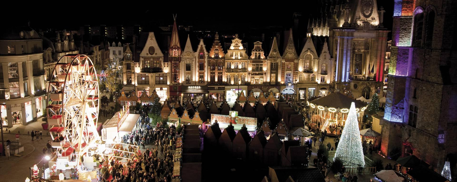 Le marché de Noël de Béthune, de nuit © Brigitte Baudesson