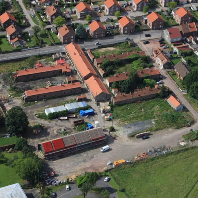 Vue aérienne du chantier de la Cité des Électriciens